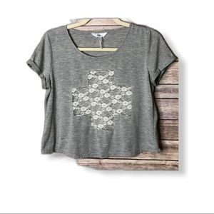Kirra Grey Crop top with sheer lace center XS